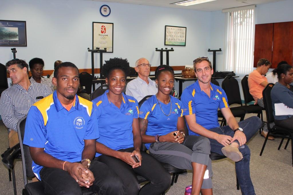 Barbadian athletes Nicholas Deshong, Sade Sealy, Kierre Beckles and Jason Wilson were present at the launch