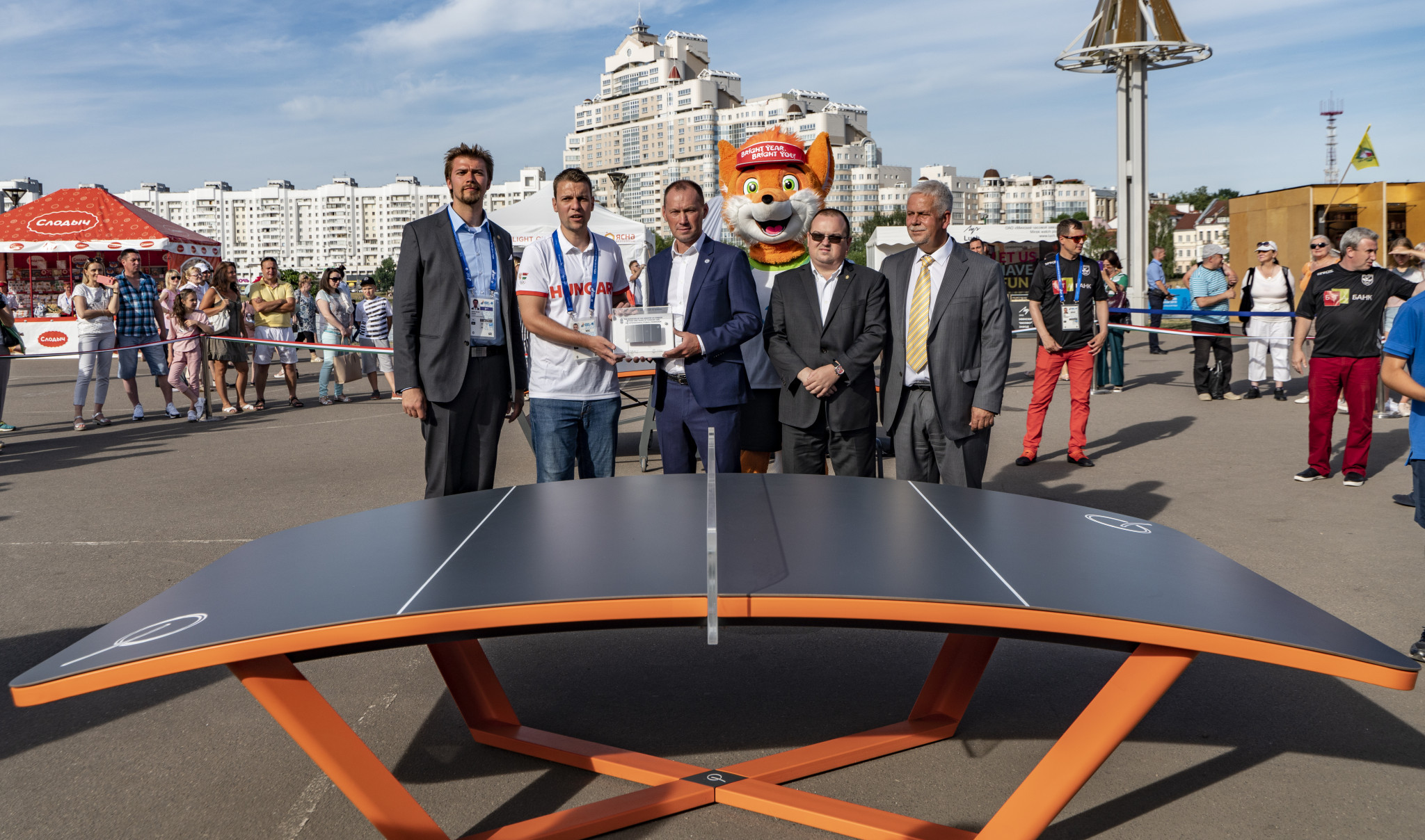 Teqball exhibited at Minsk 2019 fan zone as part of celebration of Hungarian culture
