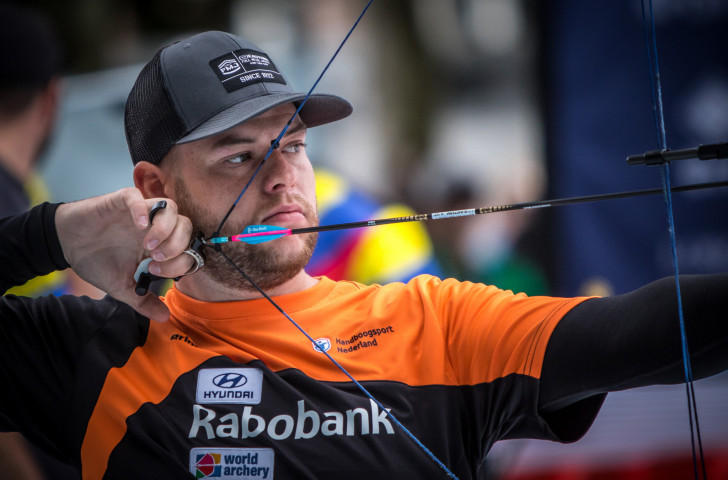 Dutch world number one compound archer Mike Schloesser won by a single point in his men's compound individual final against Luxembourg's world 142-rated Gilles Seywert ©Getty Images