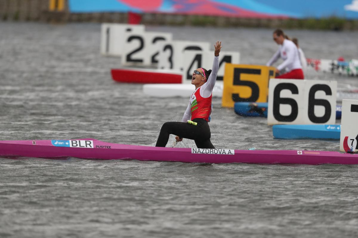 Alena Nasdrova triumphed in the women's canoe sprint C1 200m ©Minsk 2019