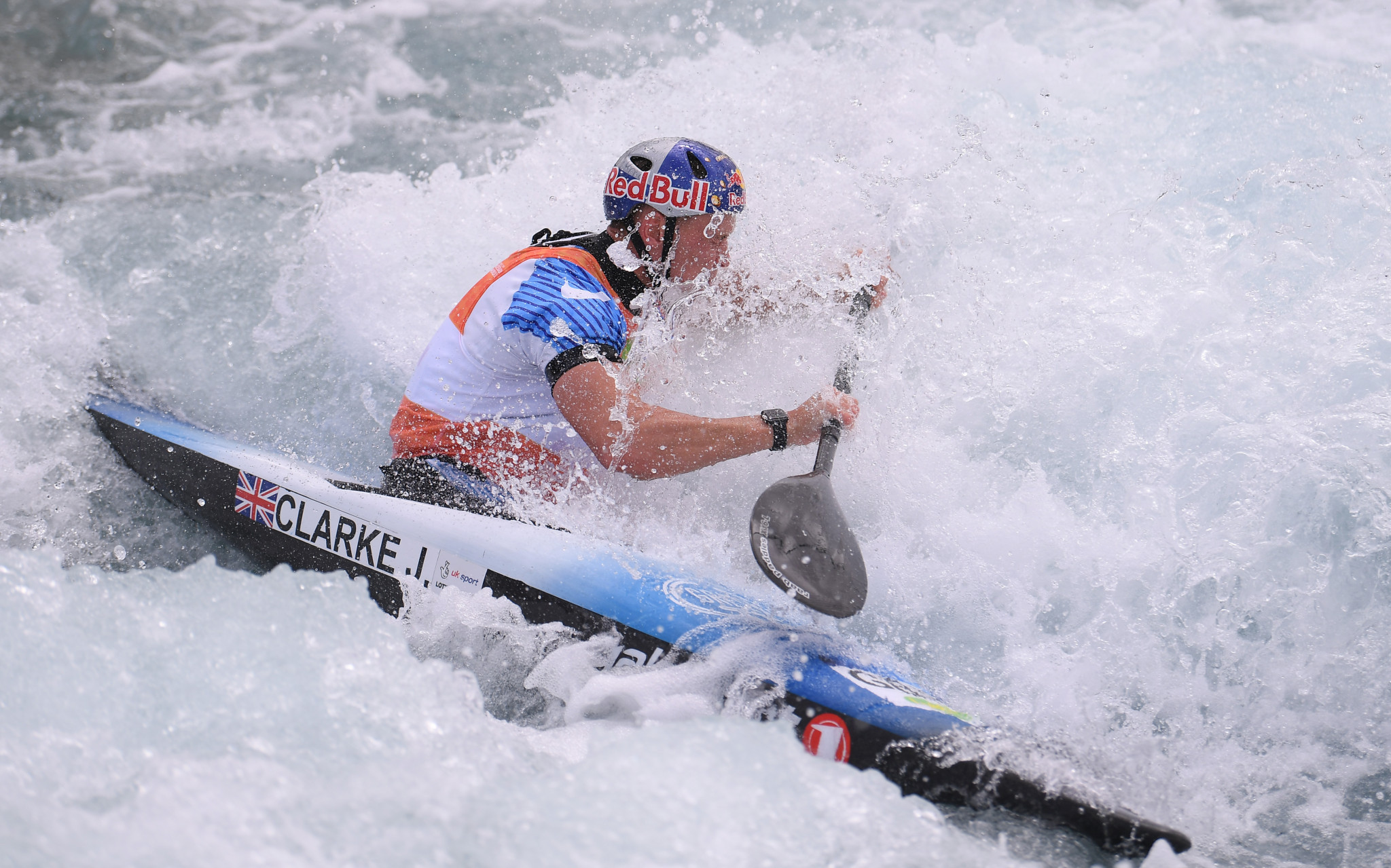 Olympic gold medallist Joe Clarke of Britain showed little sign of injury as he posted the fastest time in the men's K1 ©Getty Images