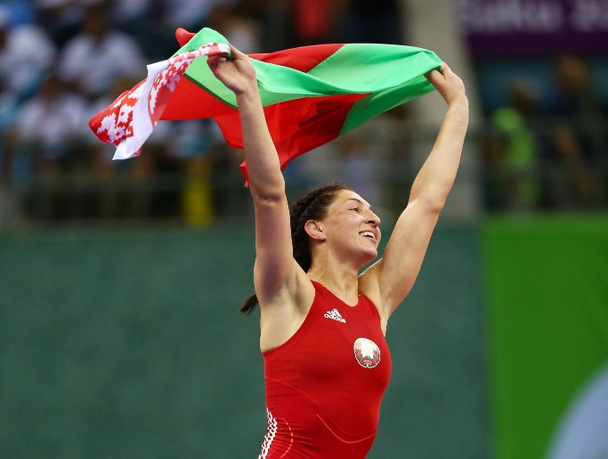 Vasilisa Marzaliuk won wrestling gold for Belarus, one of two today ©Getty Images