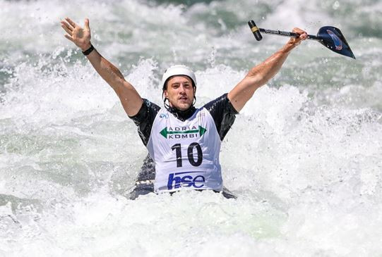 Italian Robert Colazingari secured a first International Canoe Federation Canoe Slalom World Cup podium in claiming gold in Ljubljana ©ICF