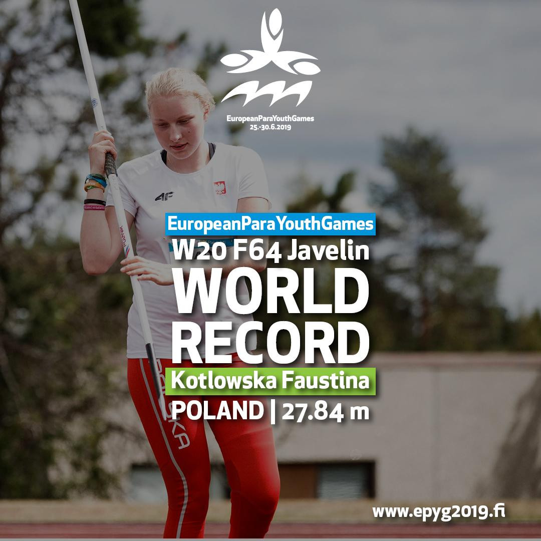 Kotłowska breaks javelin world record on day two of European Para Youth Games