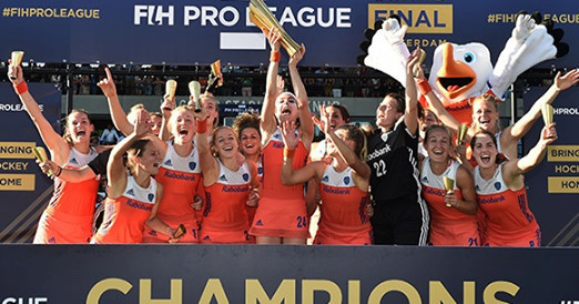 Netherlands celebrate winning the first women's FIH Pro League title with victory over Australia in Amsterdam ©FIH