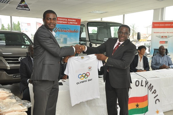 Toyota were among the sponsors of the Olympic Day activities in Ghana this year ©GOC