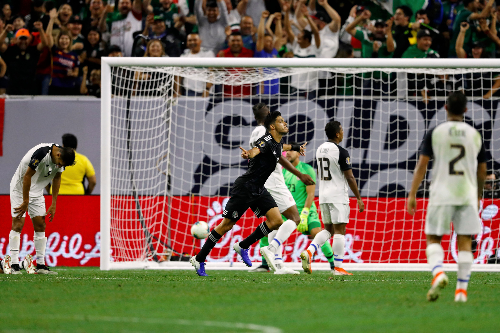 Mexico's Raúl Jiménez celebrates opening the scoring against Costa Rica in the CONCACAF Gold Cup quarter-finals in Houston, a match they eventually won 5-4 on penalties ©Getty Images