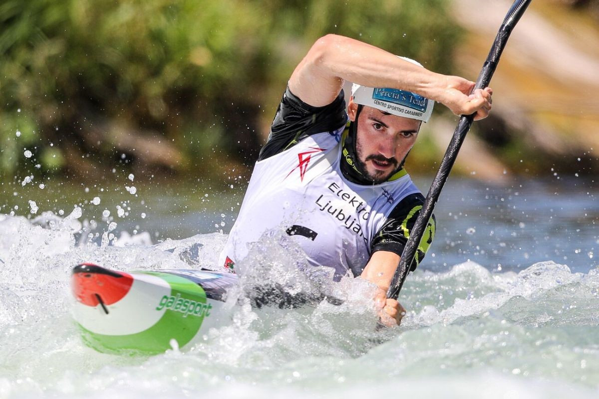 Giovanni De Gennaro of Italy won the men's K1 final at the ICF Canoe Slalom World Cup in Ljubljana ©ICF