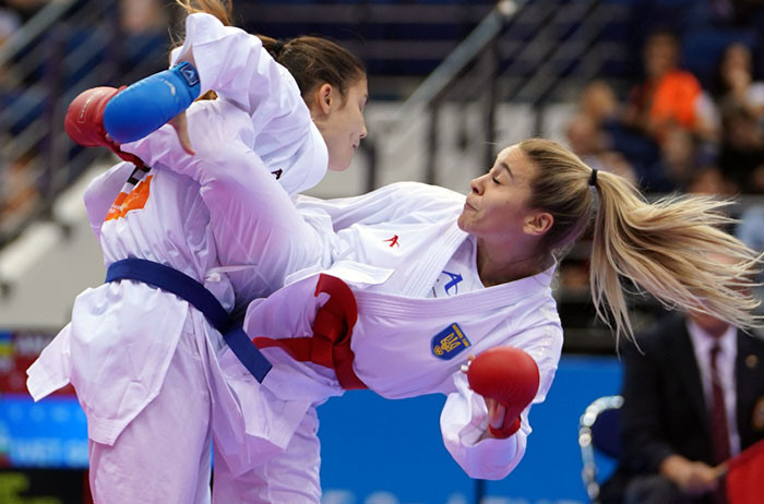 Anita Serogina, right, was one of two European Games gold medallists from Ukraine on the second day of karate action as she won the women's under-61kg category with victory over Slovenia's Tjaša Ristić ©WKF