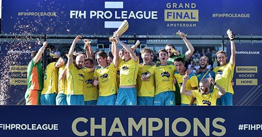 Australia celebrate becoming the first winners of the men's FIH Pro League in Amsterdam ©FIH