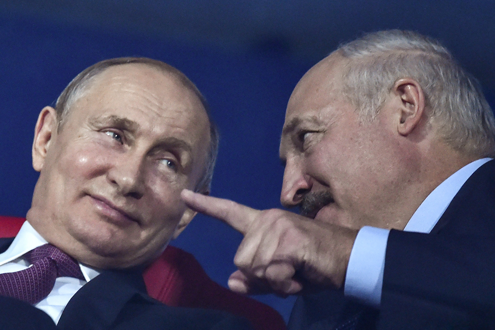 Vladimir Putin, left, and Alexander Lukashenko, respective Presidents of Russia and Belarus, pictured  at lat night's Closing Ceremony of the Minsk 2019 Games ©Getty Images