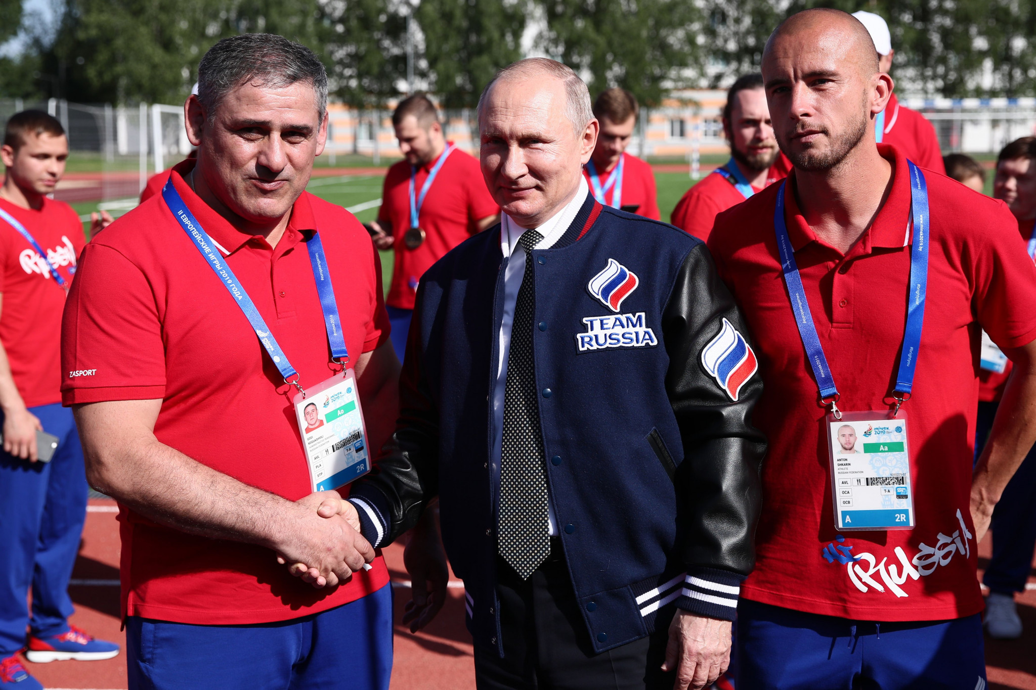 Vladimir Putin received a Team Russia jacket from athletes during the European Games ©Getty Images