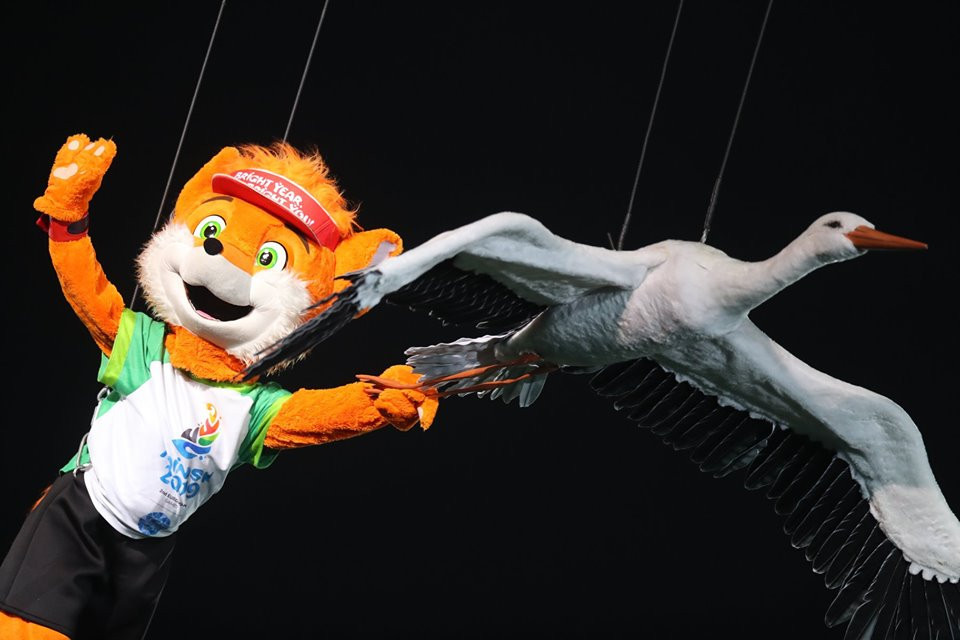 Minsk 2019 mascot Lesik played a big part in last night's Closing Ceremony, which honoured the past but also explored the future of Belarus ©Minsk 2019
