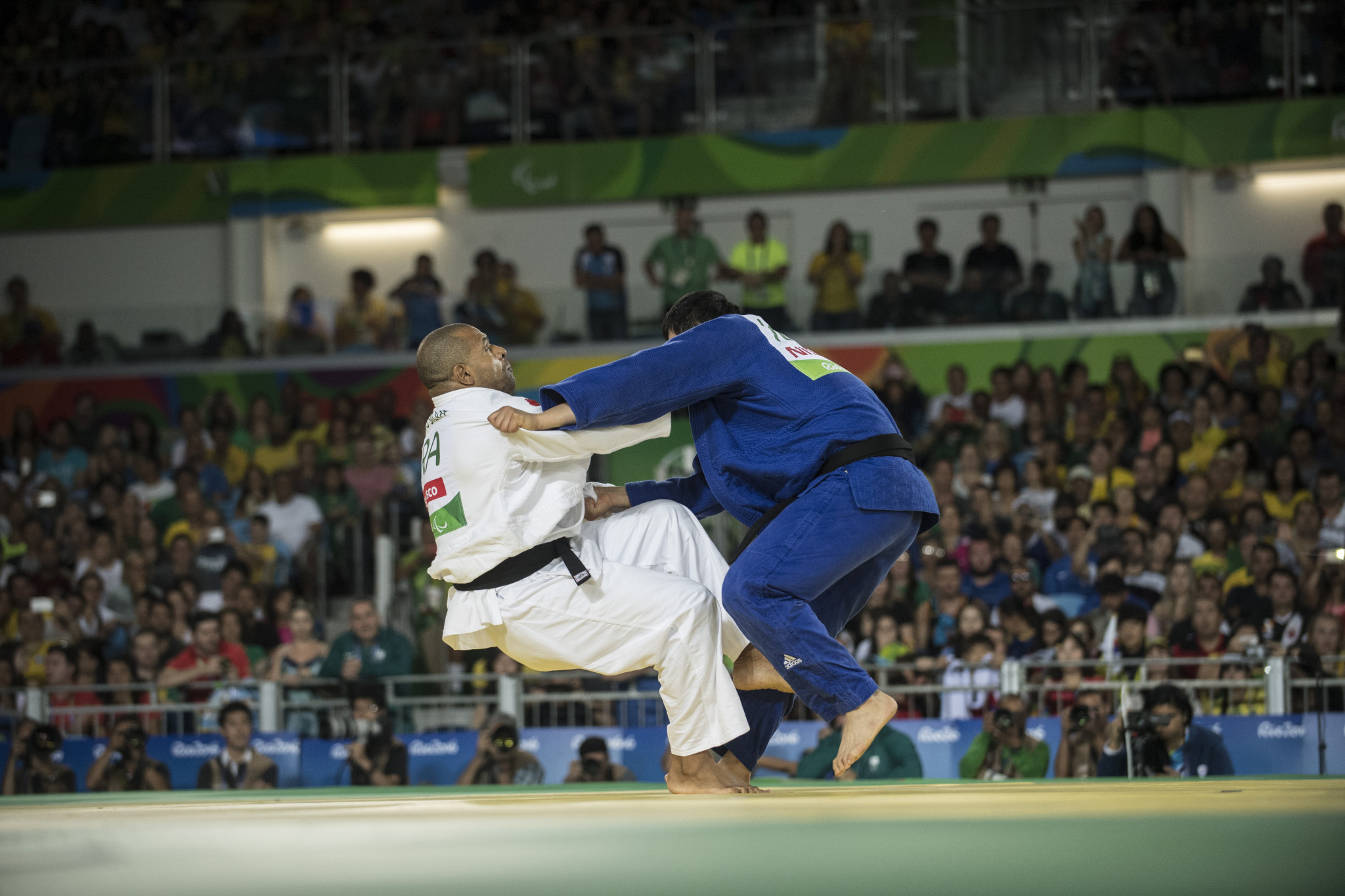 Brazil's Antonio Tonorio and Choi Gwang-geun of South Korea in action during the men's under-100kg contest at the Rio 2016 Paralympic Games ©Getty Images