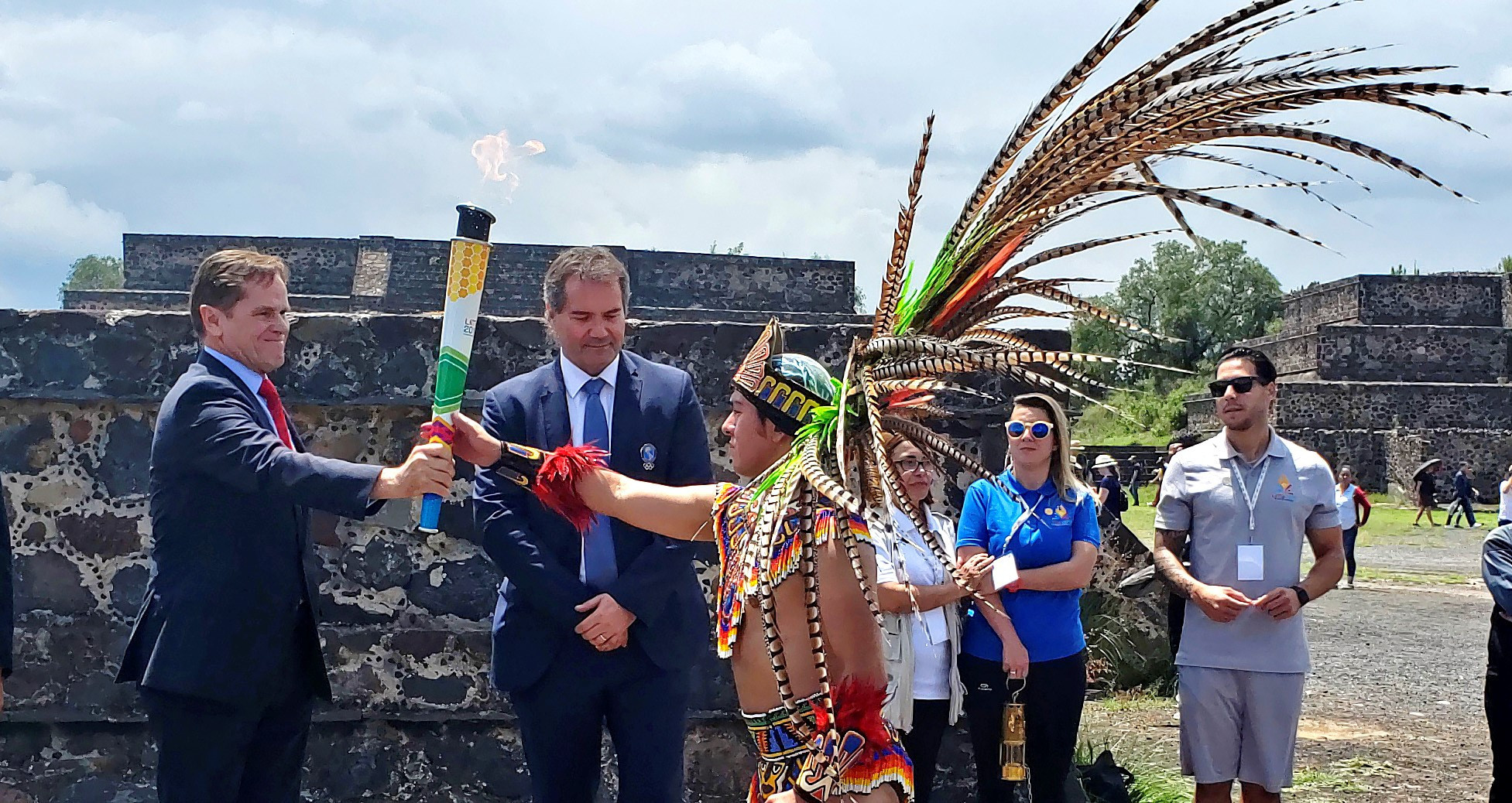 Lima 2019 has lit the Pan American Games Torch at the Plaza of the Pyramid of the Moon ©Lima 2019