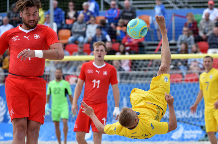 Beach soccer action from the game between Ukraine and Switzerland at the recently concluded Minsk 2019 Games ©Getty Images