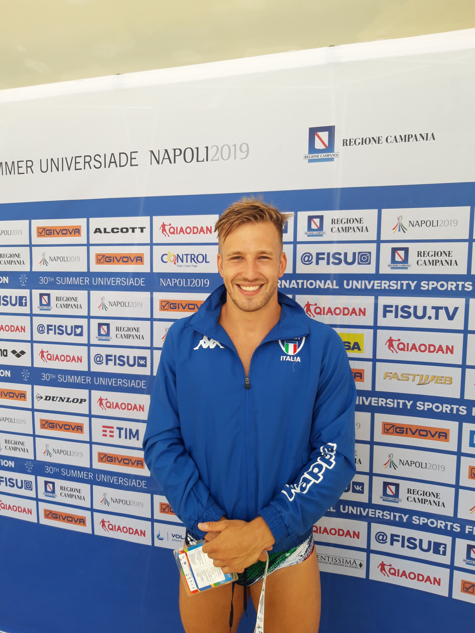 Gabriele Auber of Italy took bronze in the men's one metre springboard final at Naples 2019 ©ITG