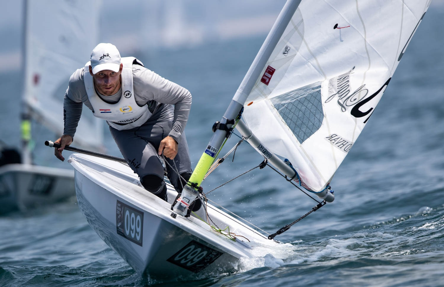 Croatia's Filip Jurišić, pictured, and New Zealand's George Gautrey share the lead after the opening day of the 2019 ILCA Laser Standard Men's World Championship in Japanese city Sakaiminato ©Junichi Hirai/Bulkhead Magazine Japan