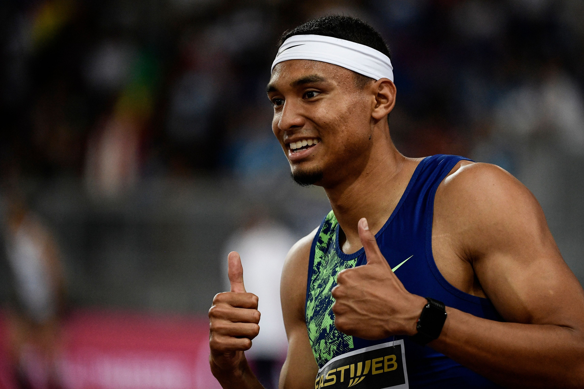 The United States' Michael Norman reacts after winning in Rome ©Getty Images