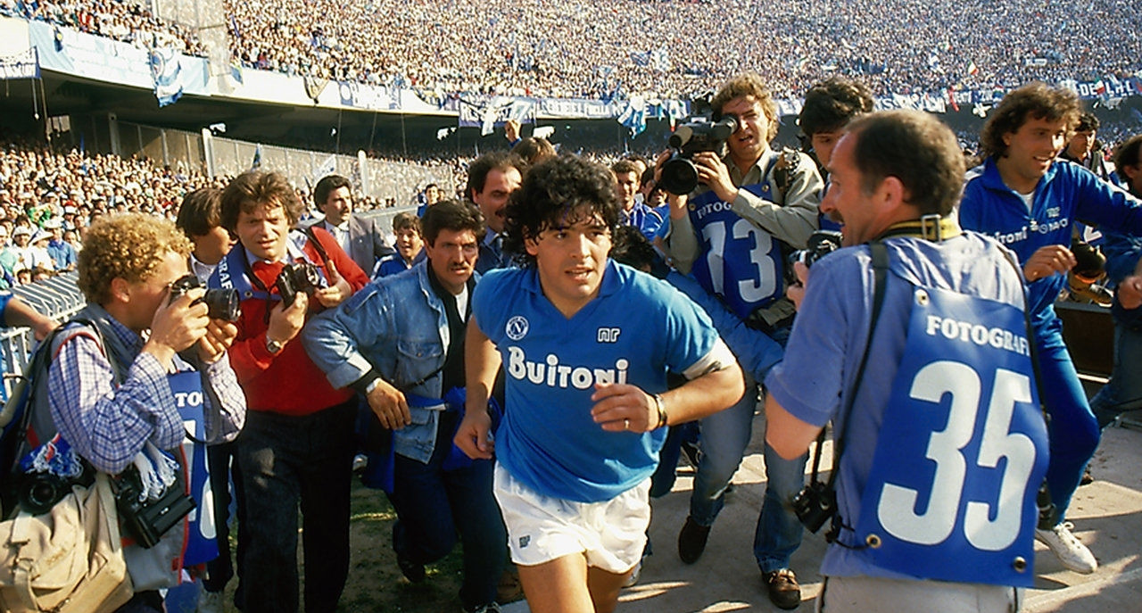 A crowd of 70,000 packed into the San Paolo to see Diego Maradona officially unveiled as a Napoli player in 1984 ©Getty Images