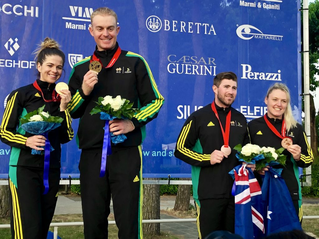Australia finished with gold and bronze from the mixed team trap event ©Shooting Australia