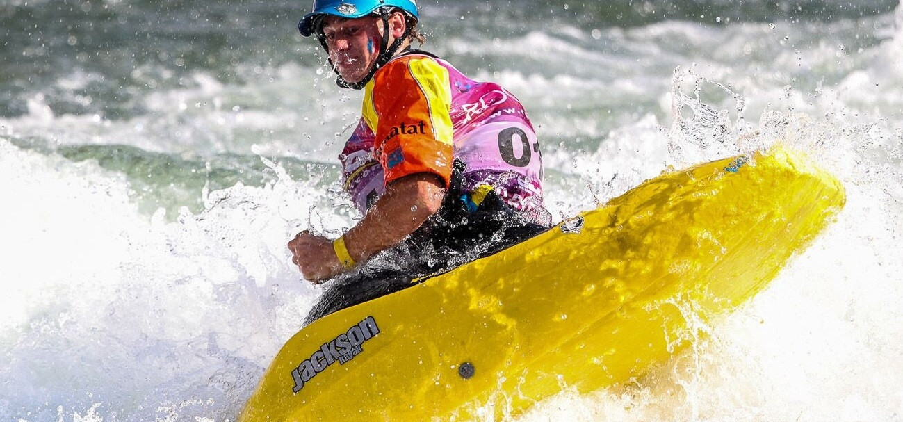 Teenager Tom Dollé stole the show today at the ICF Canoe Freestyle World Championships in Sort in Spain ©ICF