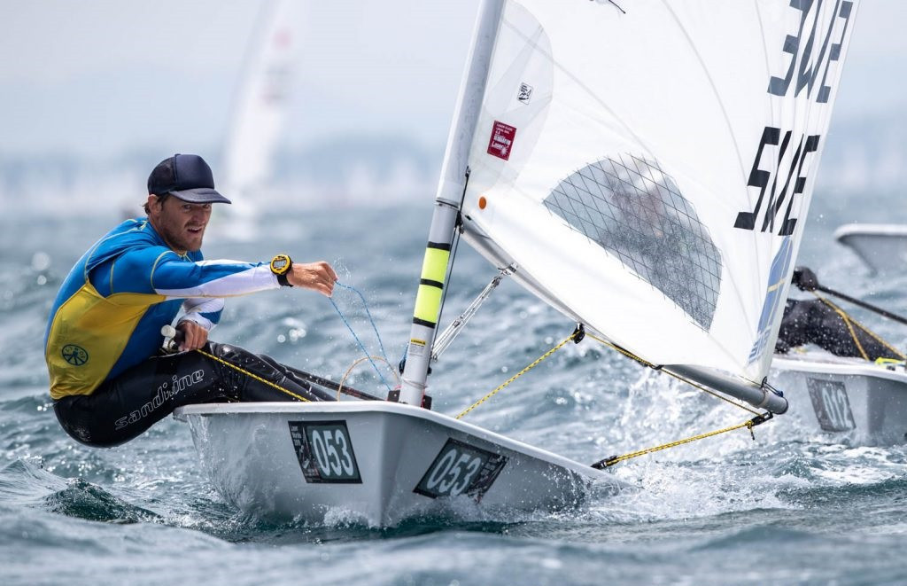 Sweden's Jesper Stålheim is in a three-way tie for first place after four qualifying races at the 2019 ILCA Laser Standard Men's World Championship in Japanese city Sakaiminato ©Junichi Hirai/Bulkhead Magazine Japan