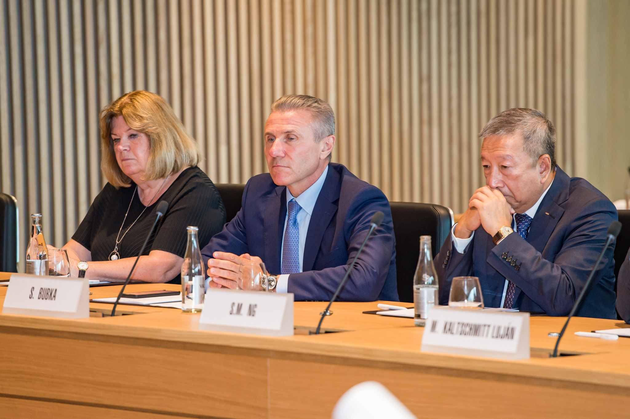 Sergey Bubka, centre, is a member of the IOC Executive Board, President of the National Olympic Committee of Ukraine and senior vice-president of the IAAF ©Getty Images