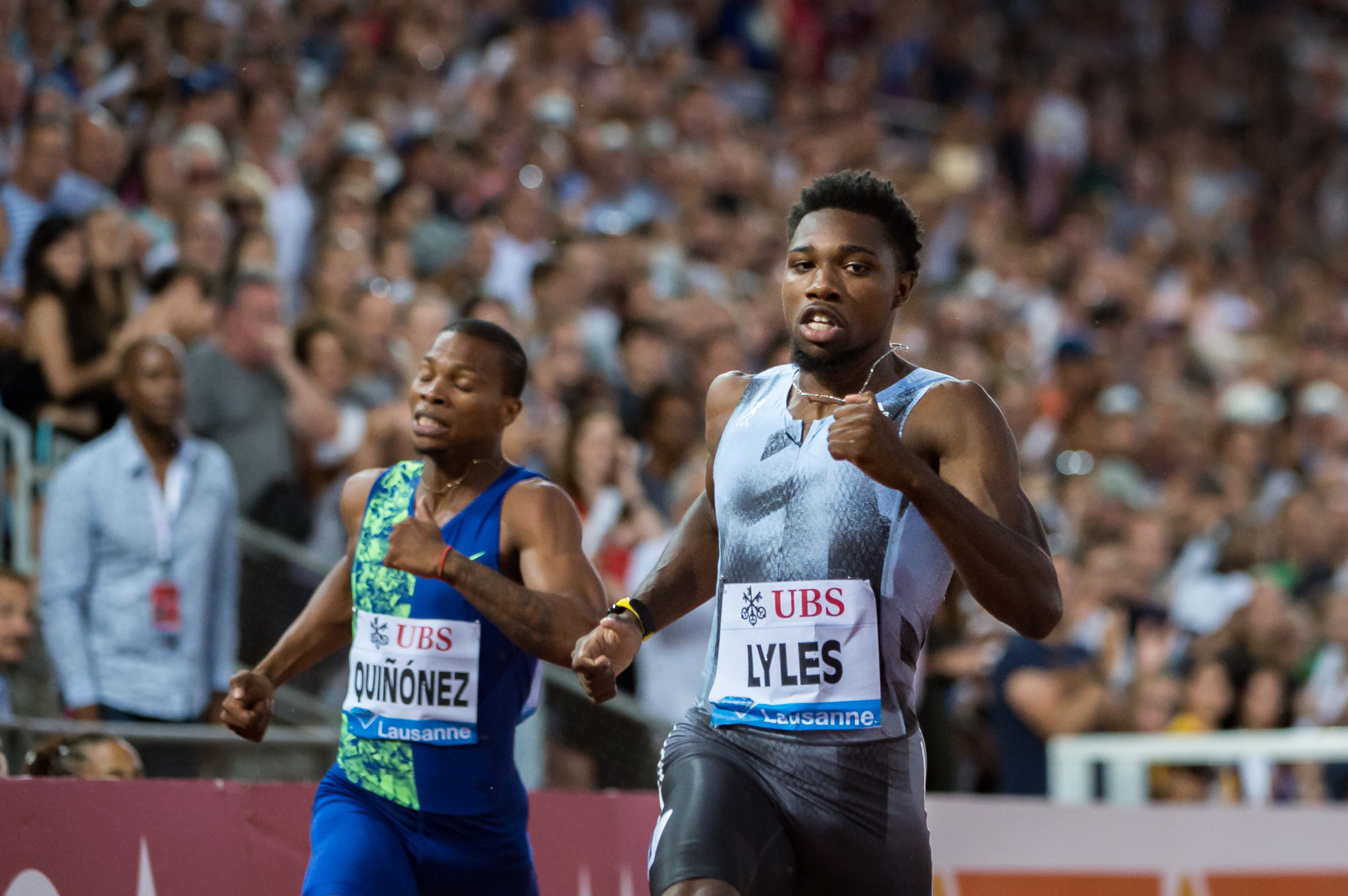America's Noah Lyles wins the 200 metres at the Lausanne Diamond League meeting in 19.50sec - the fourth fastest in history ©Getty Images