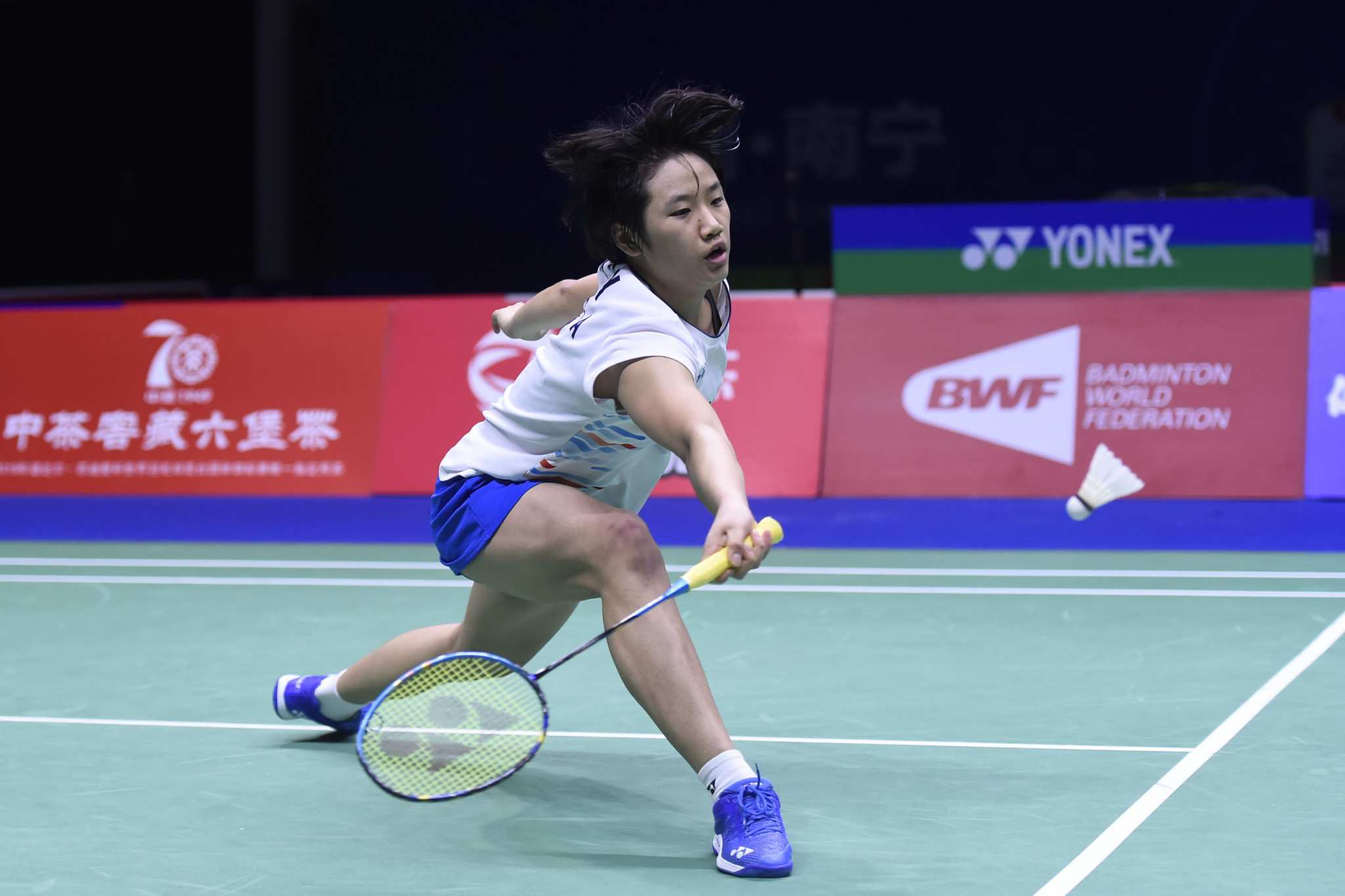 An upsets top seed Li to reach semi-finals at BWF Canada Open