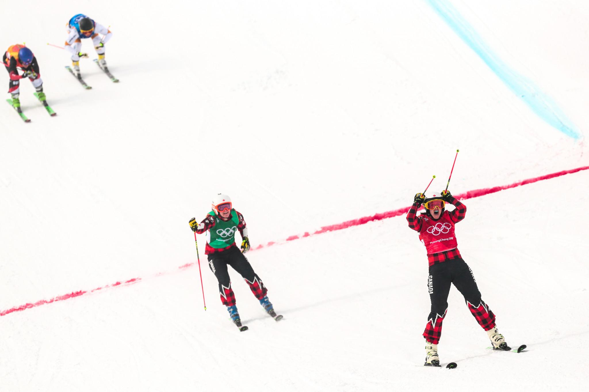 Canada's Kelsey Serwa celebrates winning  Olympic gold in ski cross at Pyengchang 2018 ©Getty Images