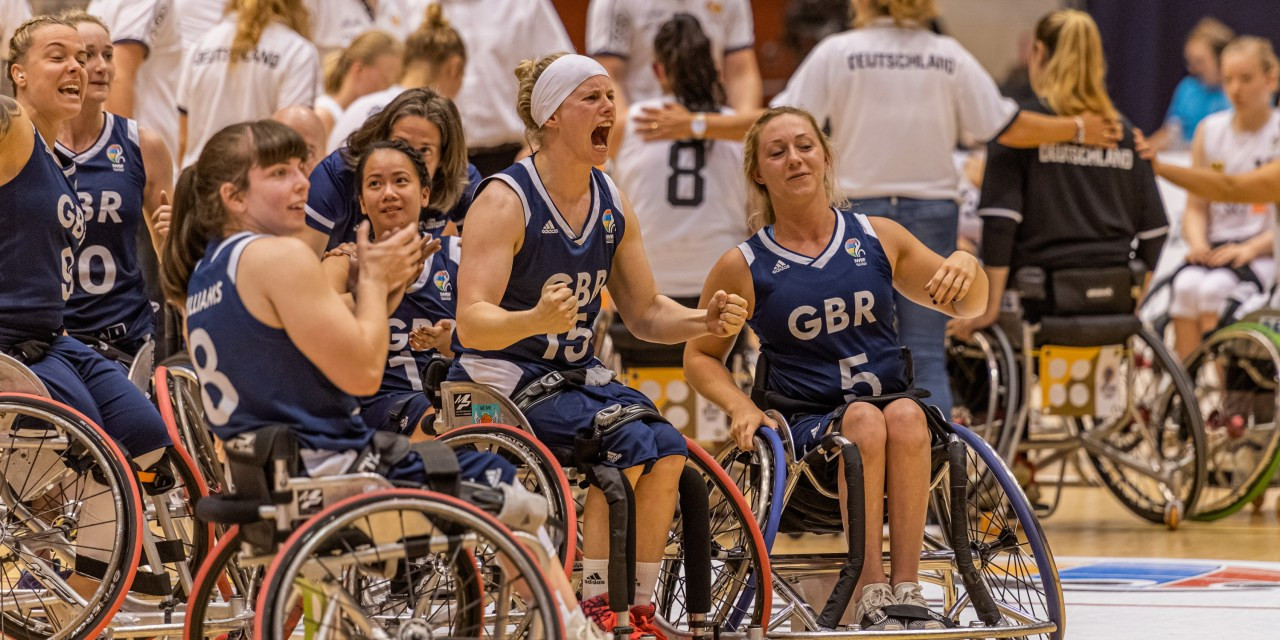 Britain's women celebrate reaching the IWBF European Championship Division A final for the first time in Rotterdam after beating Germany 49-48 ©Getty Images