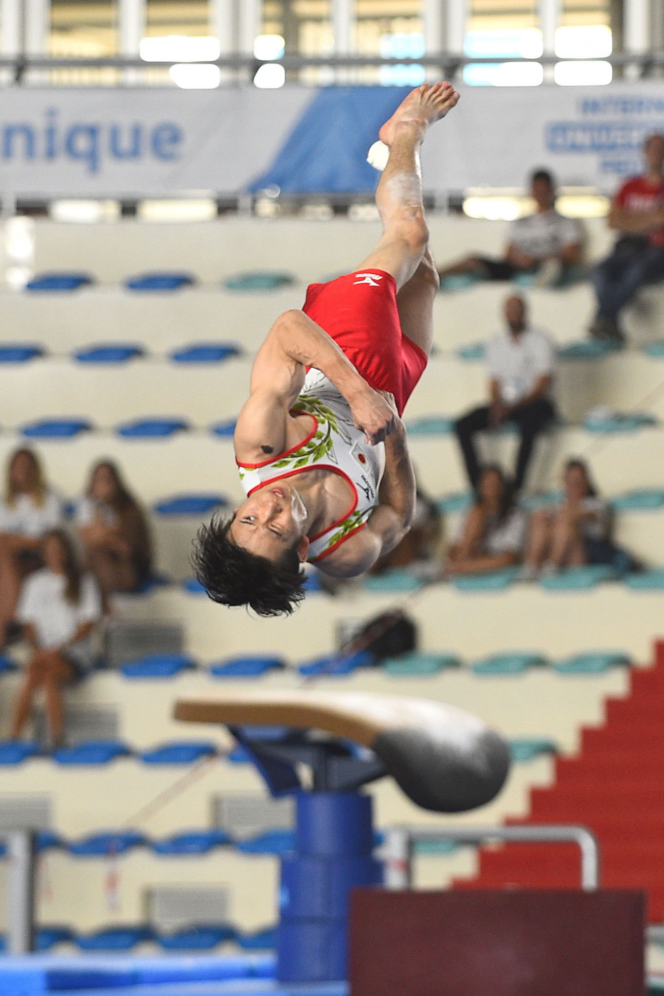 Kazuma Kaya of Japan impressed the judges as he tumbled his way to the men's all-around artistic gymnastics title ©Naples 2019