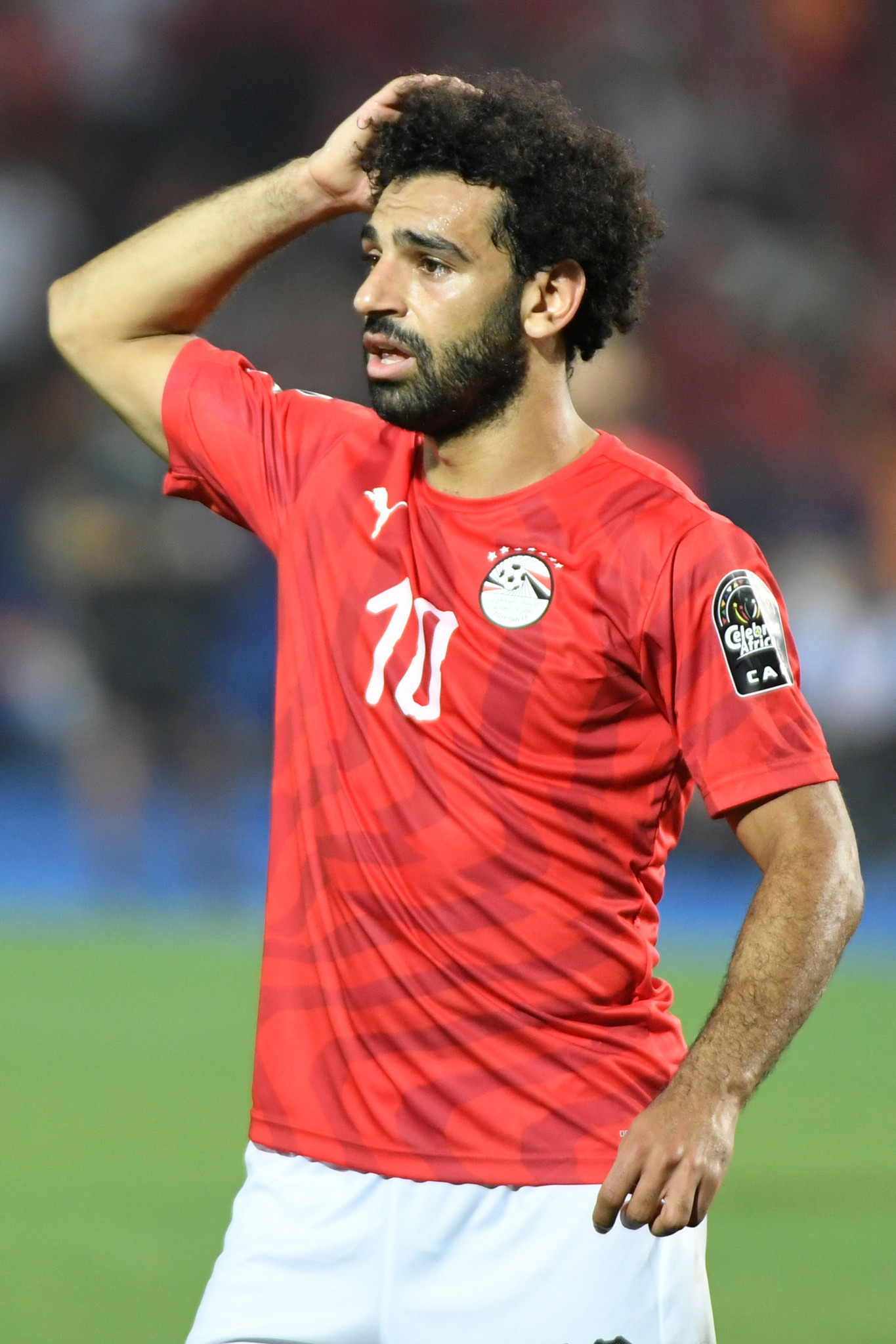Egypt's Mohamed Salah takes in a shattering defeat after the hosts of the Africa Cup of Nations are beaten 1-0 by South Africa ©Getty Images