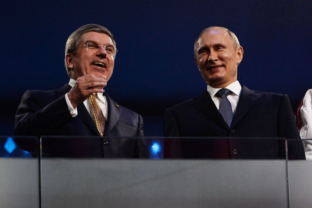 Thomas Bach and Vladimir Putin pictured together at the Sochi 2014 Winter Olympics ©Getty Images