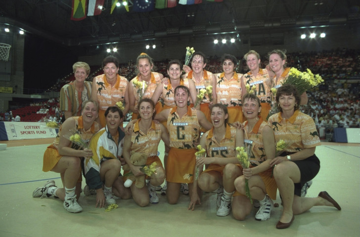 Australia celebrate another victory at the last Netball World Cup to have been held in England – the 1995 edition held in Birmingham's National Indoor Arena, at which Liz Nicholl was tournament director ©Getty Images