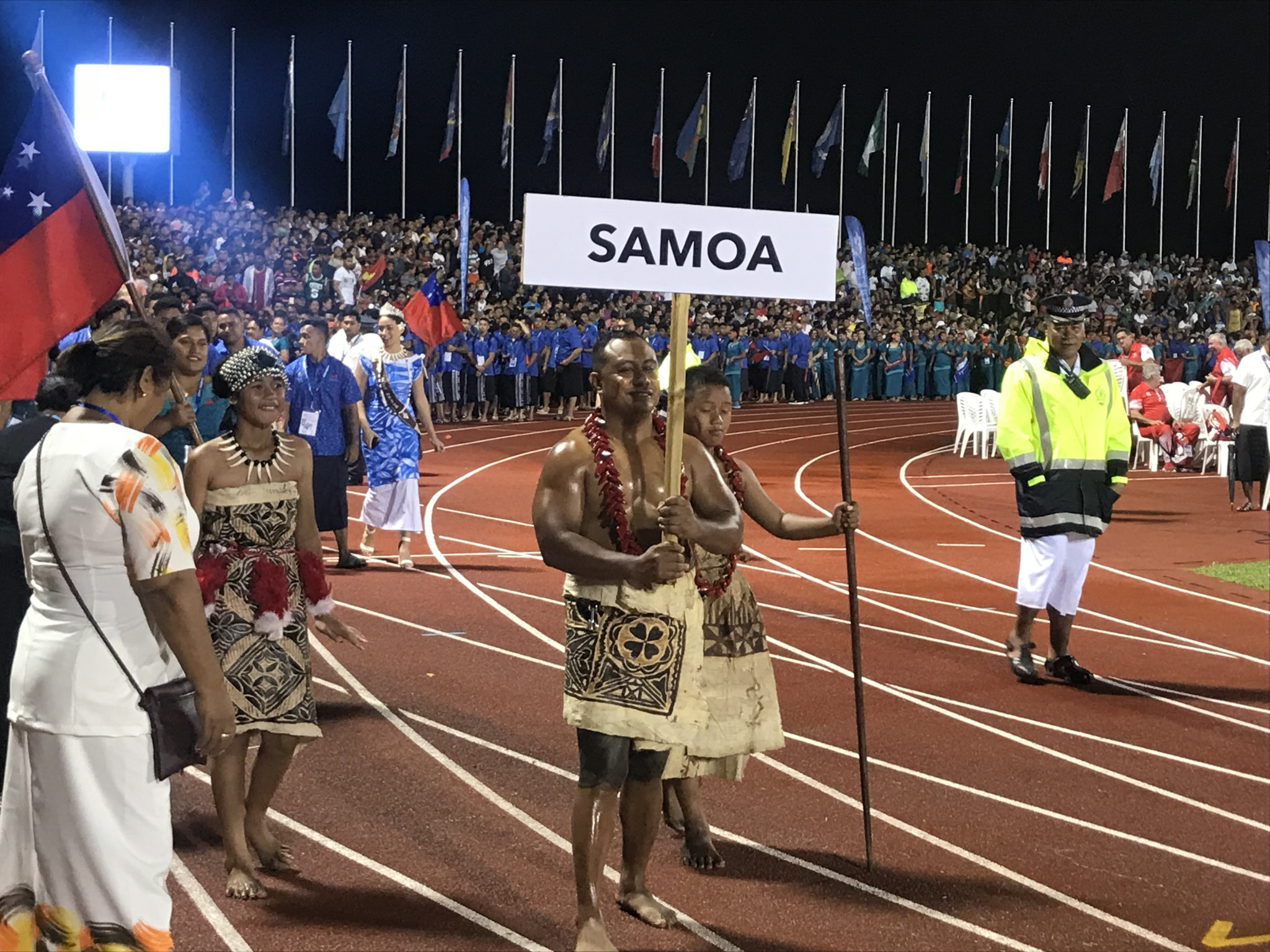 Samoa were the final nation to enter the stadium ©ITG