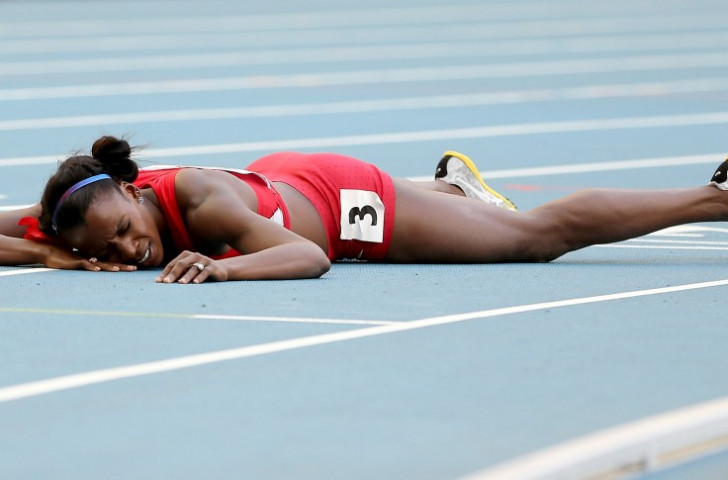 American 800m runner Alysia Montano pictured after missing a medal by one place at the 2013 IAAF World Championships, one of several events where she finished behind Russians