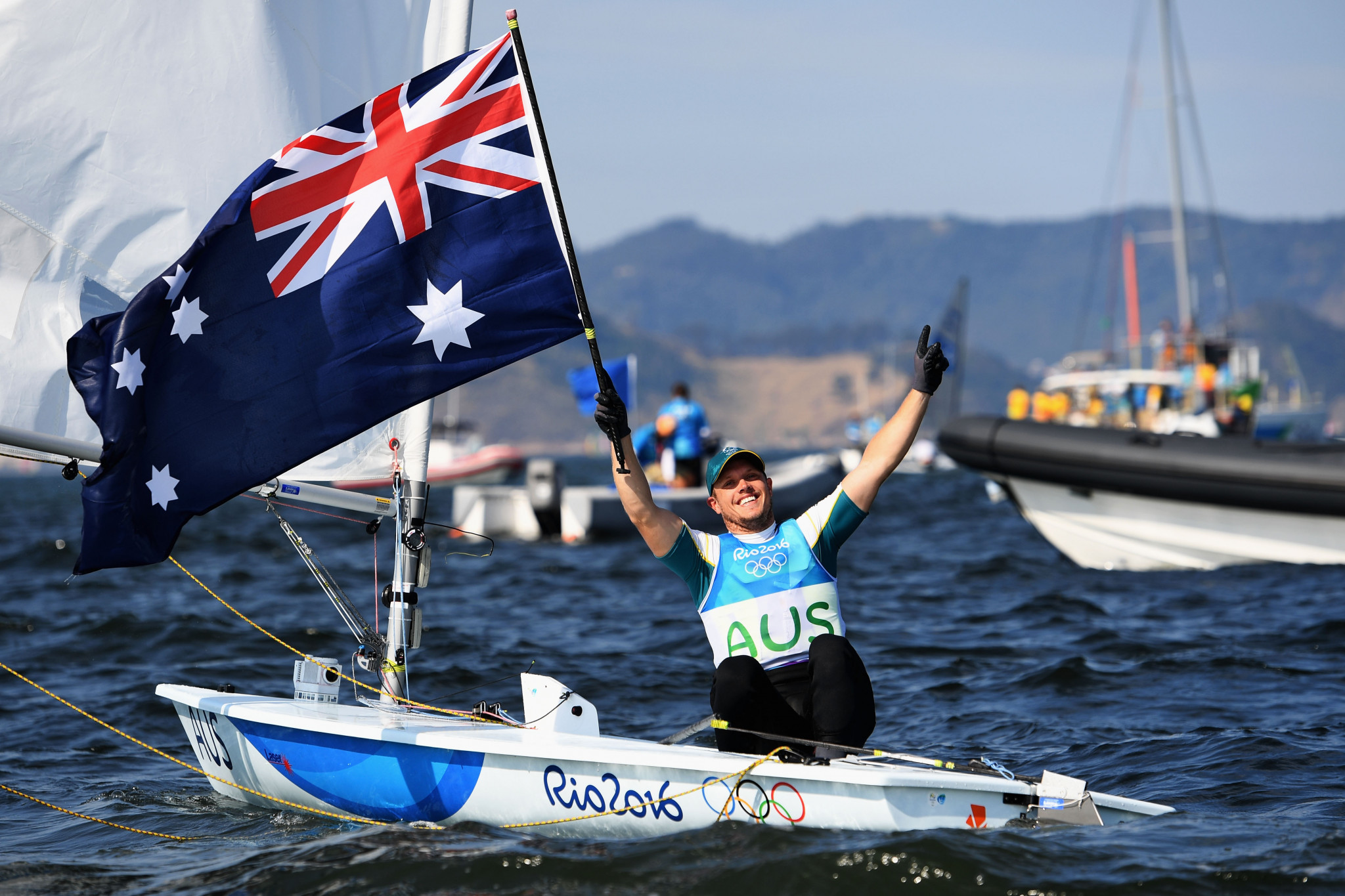 Australia's reigning Olympic champion Tom Burton took over the lead from New Zealand's Sam Meech as championship racing began in Japan ©Getty Images