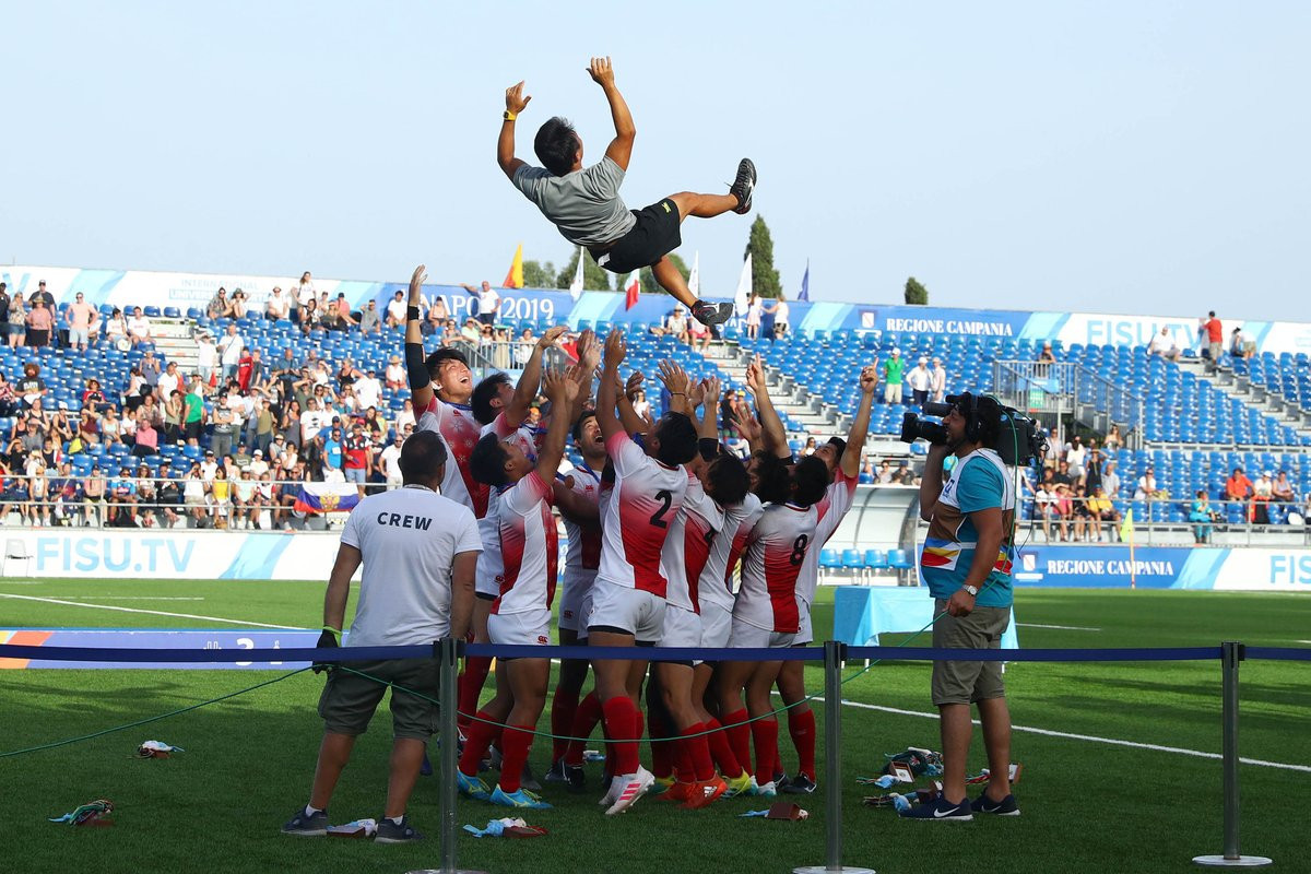 The Japanese men's rugby sevens team celebrated their Universiade gold medal ©FISU