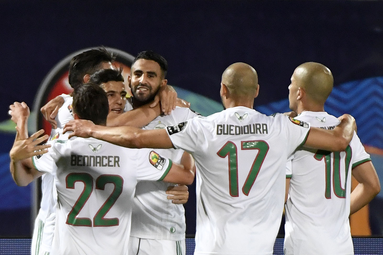 Riyad Mahrez, centre, was on target for Algeria in their win against Guinea ©Getty Images