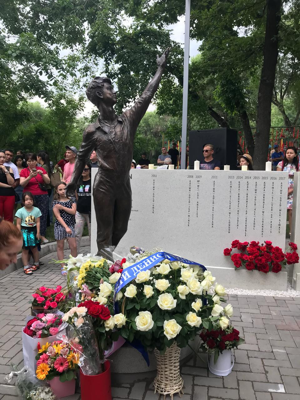Memorial unveiled in Almaty to Kazakhstan's murdered Olympic figure skating medallist Ten