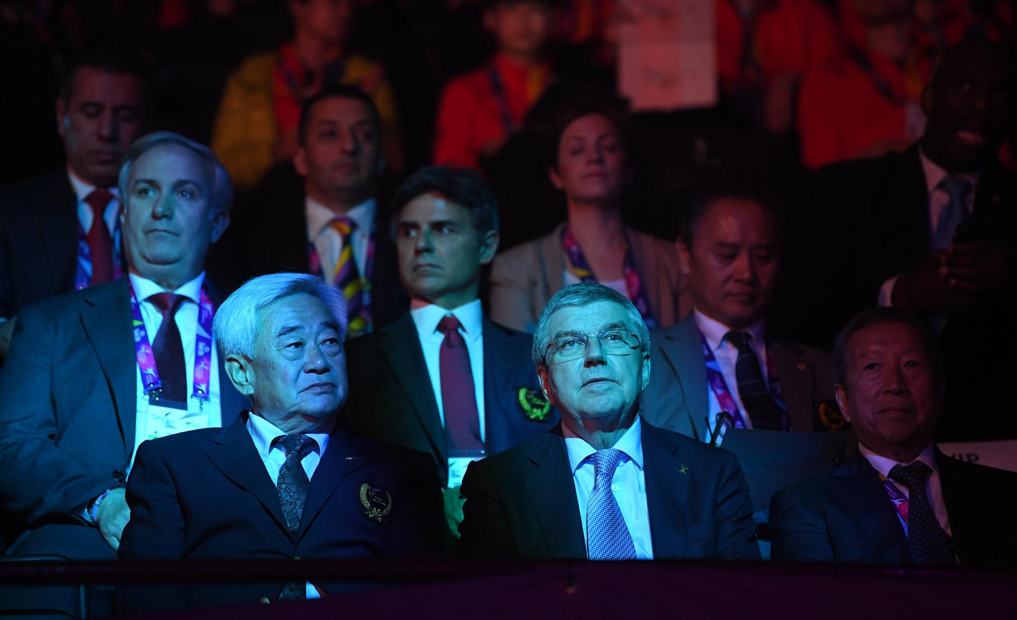 World Taekwondo President Choue Chung-won sits next to International Olympic Committee President Thomas Bach at the recent World Taekwondo Championships at Manchester ©Getty Images
