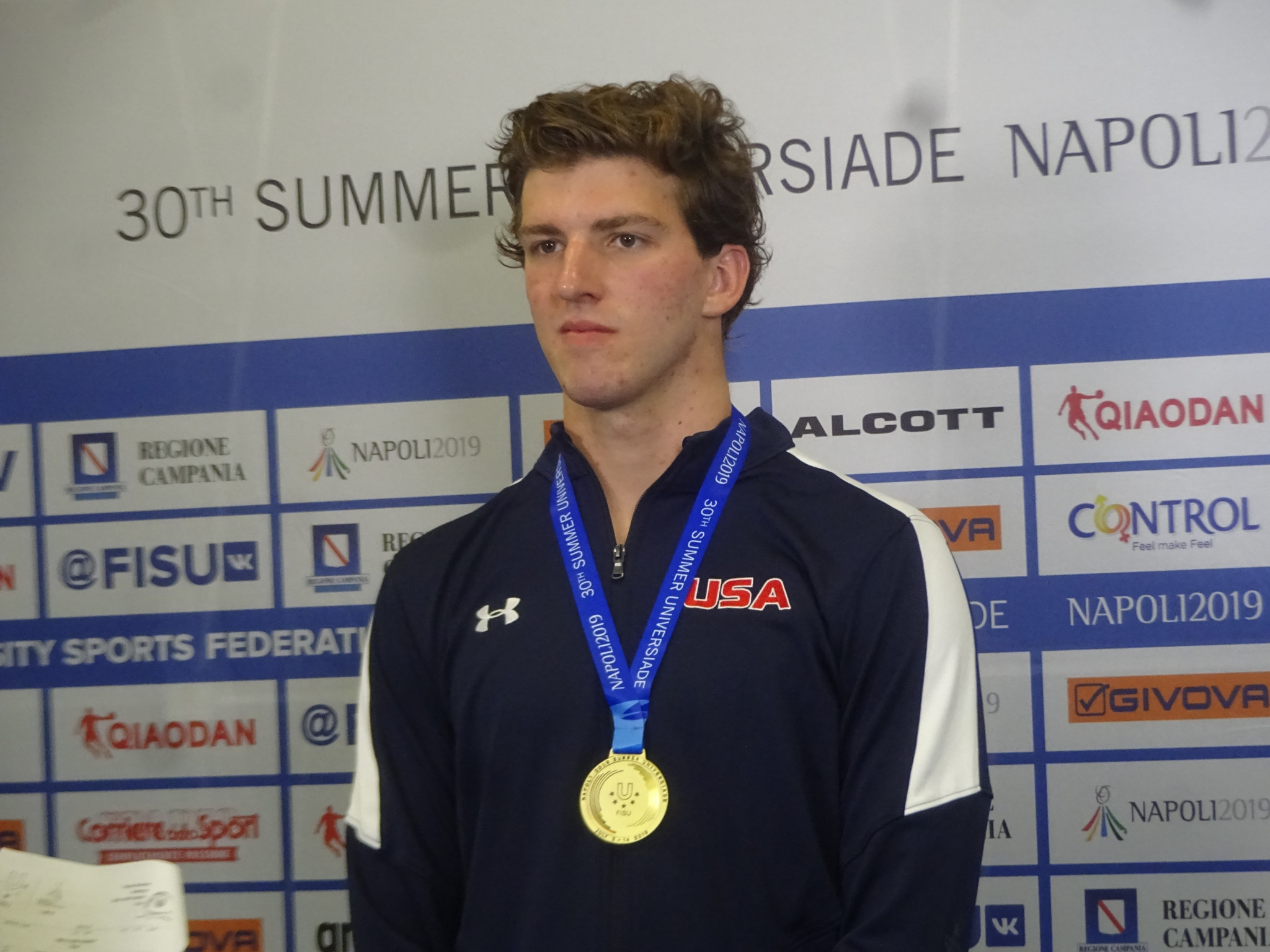 Zach Apple completed a hat-trick of gold medals as he won 100m freestyle gold at Piscina Scandone ©Philip Barker