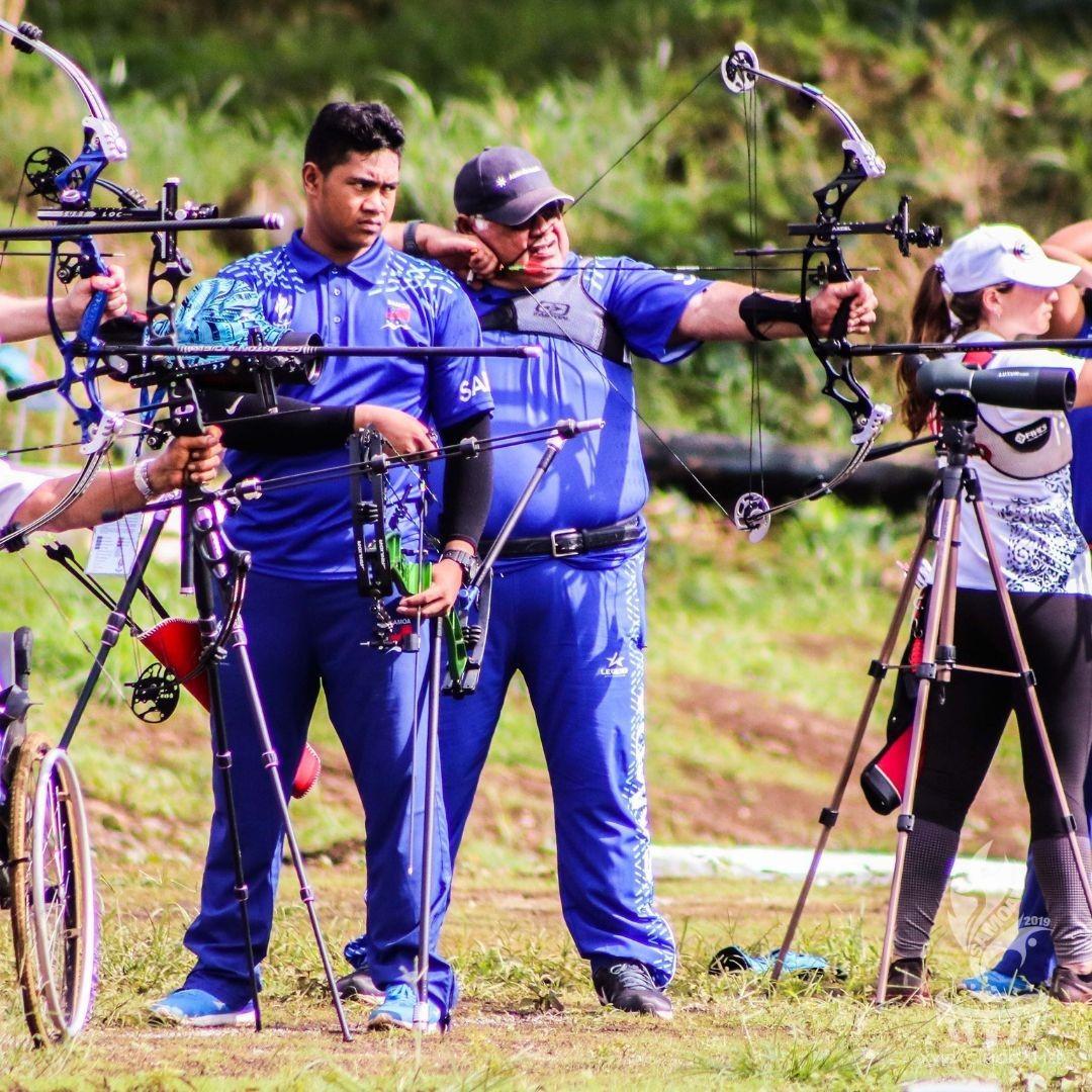 Samoan Prime Minister Tuilaepa Aiono Sailele Malielegaoi, 74, finished last in the men's compound competition ©Pacific Games News Service