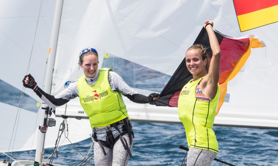 Luise and Helena Wanser struck gold in the women's event at the Junior 470 World Championships in Slovenia ©Uros Kekus Kleva