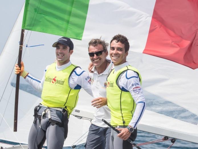 Italy's Giacomo Ferrari and Giulio Calabro enjoyed a big victory in the men's fleet ©Uros Kekus Kleva