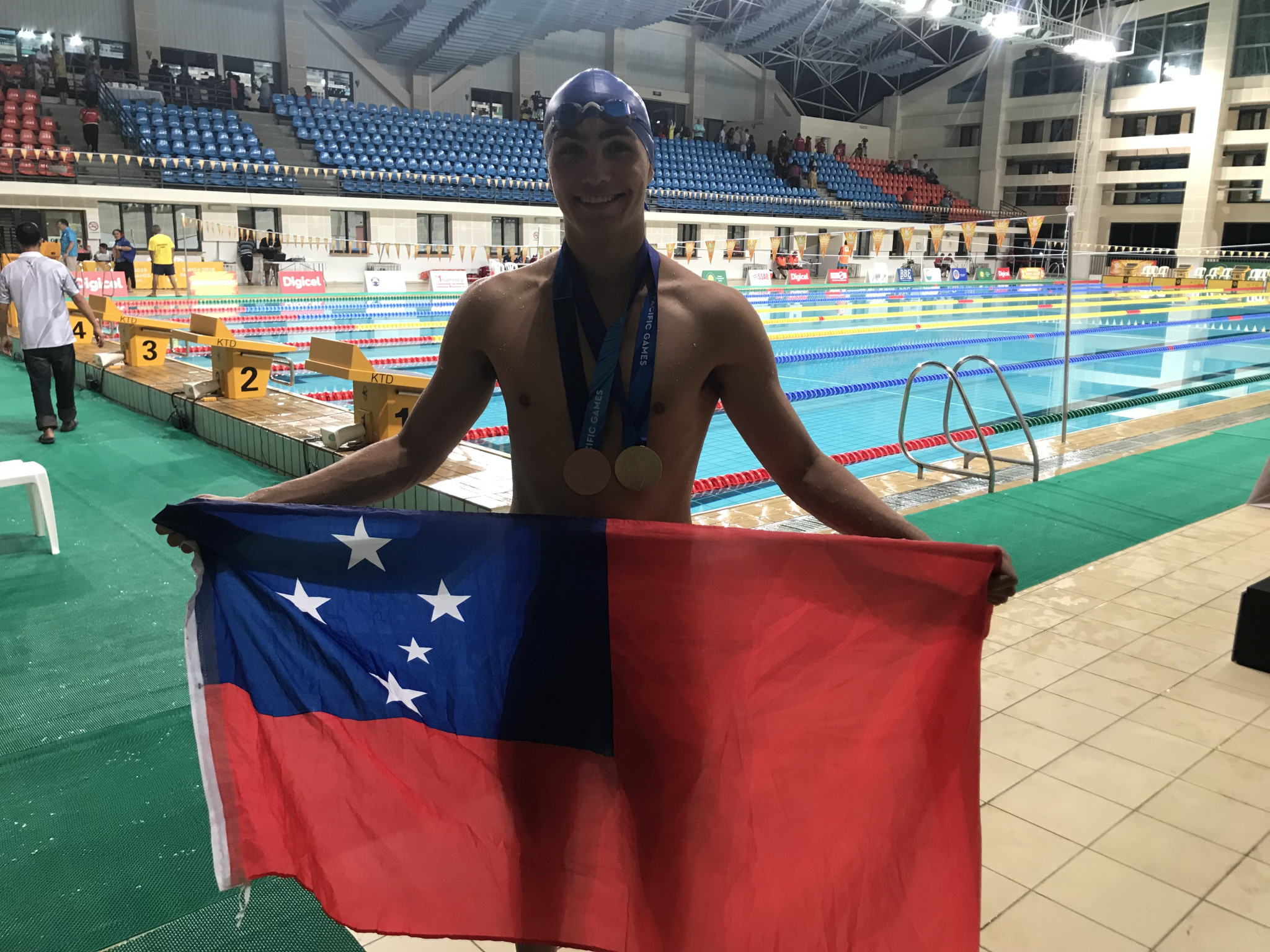 Brandon Schuster won Samoa's first ever Pacific Games swimming gold medal ©ITG