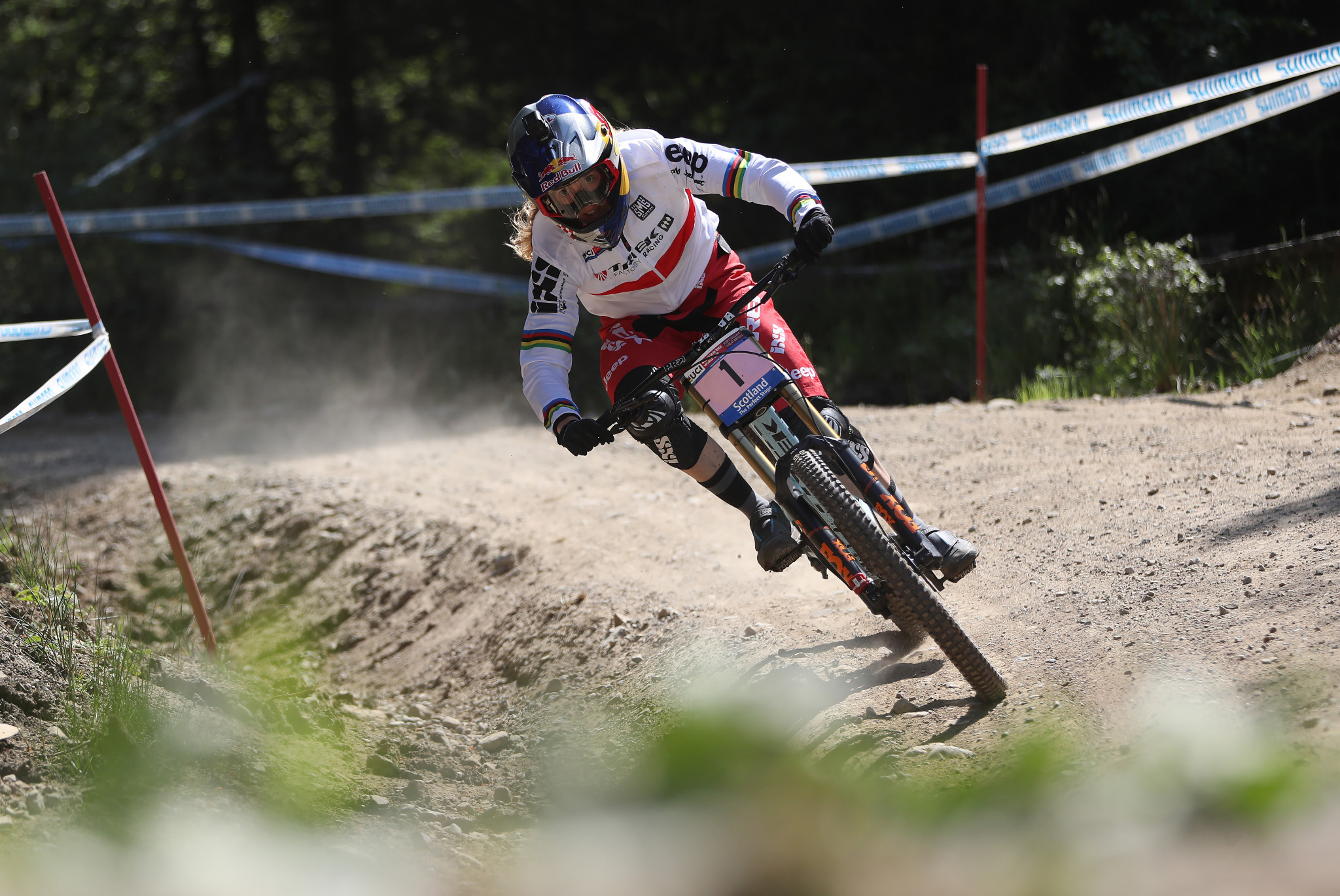 France's Loïc Bruni and Great Britain's Rachel Atherton, pictured, won the respective men's and women's downhill events at this weekend's UCI Mountain Bike World Cup in Vallnord in Andorra ©Getty Images