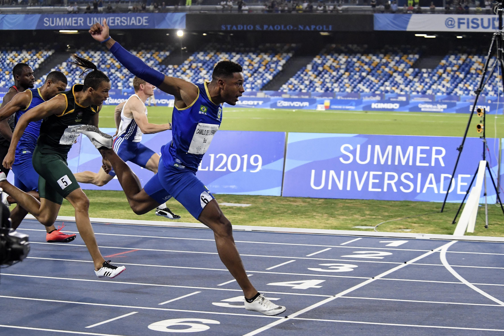 Paulo Andre Camilo won the men's 100m as Brazilians filled two of the top three places ©Naples 2019